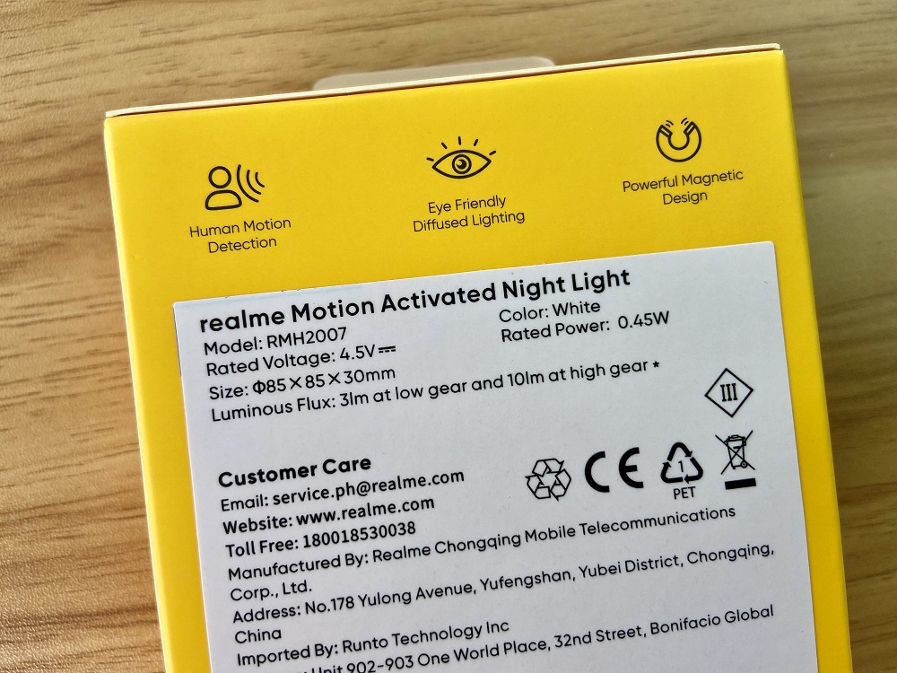 realme Motion Activated Night Light Retail Box - Back