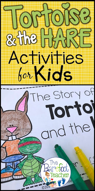 These Tortoise and the Hare fable crafts and activities are a perfect literacy match for your fables unit with your Kindergarten or First Grade kids. #fables #tortoiseandthehare #emergentreaders #kindergarten #firstgrade #literacy #elementary #reading #thebarefootteacher