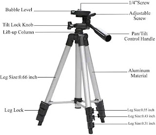 Aluminium Lite Weight Professional Mobiles & Cameras 4 Section Lever Lock Tripod Stand with