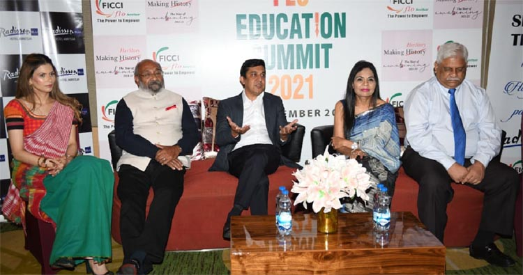 Manjot Dhillon, Chairperson FICCI FLO Amritsar and panelists talking to media after education summit 2021. Photo by Nannu Sudio