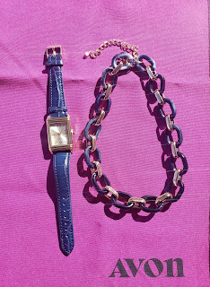 Blue Watch, Navy and Gold Link Necklace