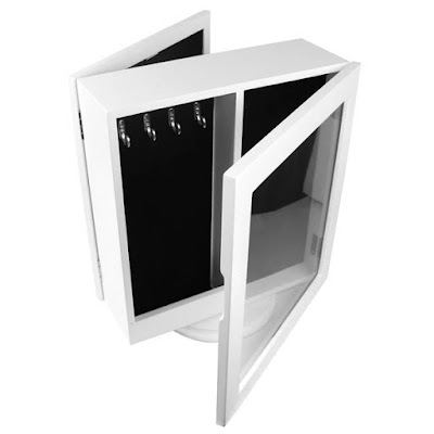 Two Sided Rotating Table Top Jewelry Cabinet with Mirror.
