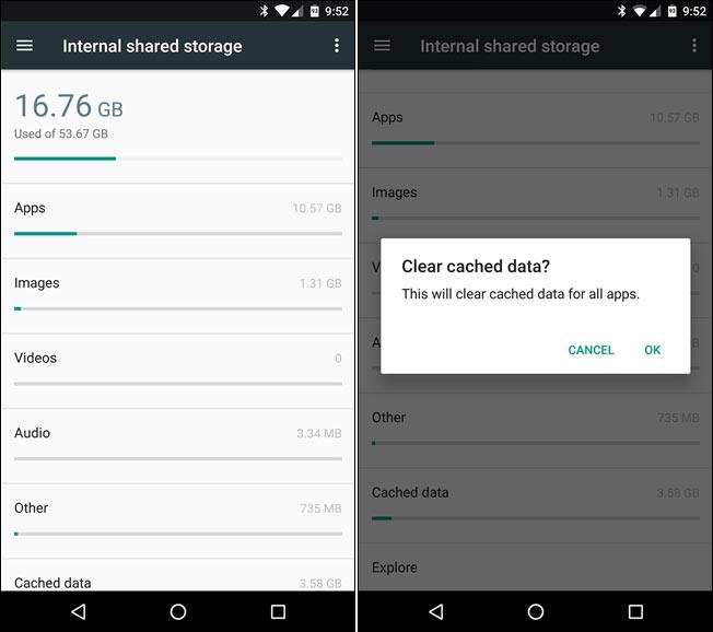 زيادة المساحة على هاتف Android