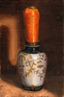 Oil painting of a carrot inserted vertically into a white Chinese-style porcelain vase.