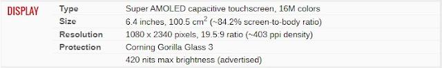 Spesifkasi Samsung Galaxy M21- Layar Display