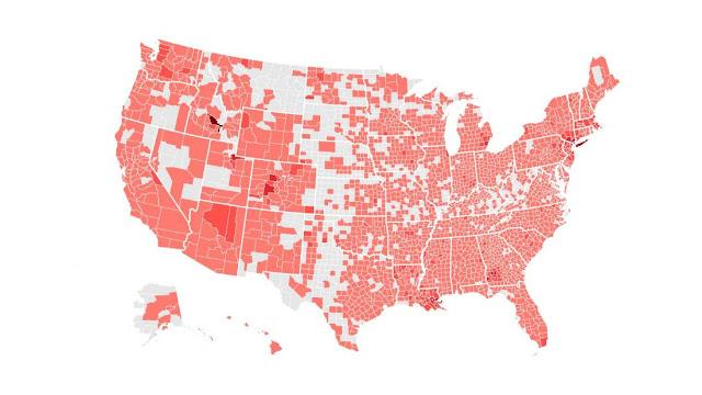 Coronavirus map of US (United States)