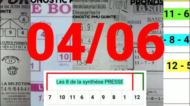 Pronostics quinté pmu Vendredi Paris-Turf TV-100 % 04/06/2021