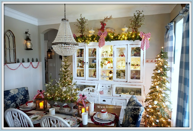 Cottage- Farmhouse -Christmas -Dining -Room -Pottery-Barn-Mia-Chandelier-White-Dining-Cabinet--From My Front Porch To Yours