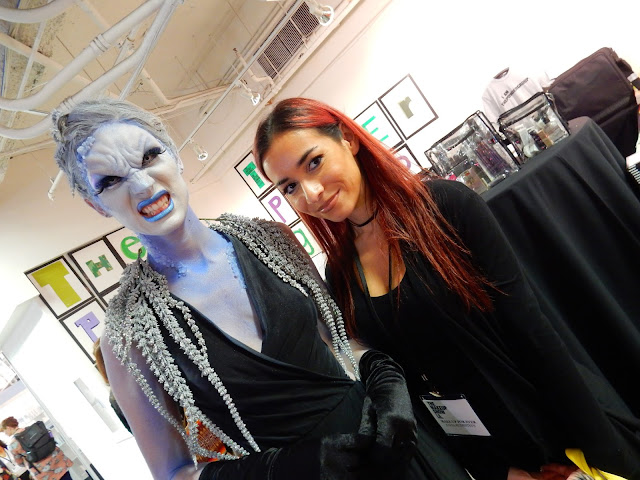 Faina and her model for MUFE at The Makeup Show L.A. 2017 - www.modenmakeup.com