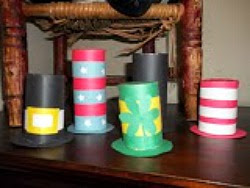 Holiday Hats from cardboard tubes: Dr. Seuss, Stovepipe, and more!