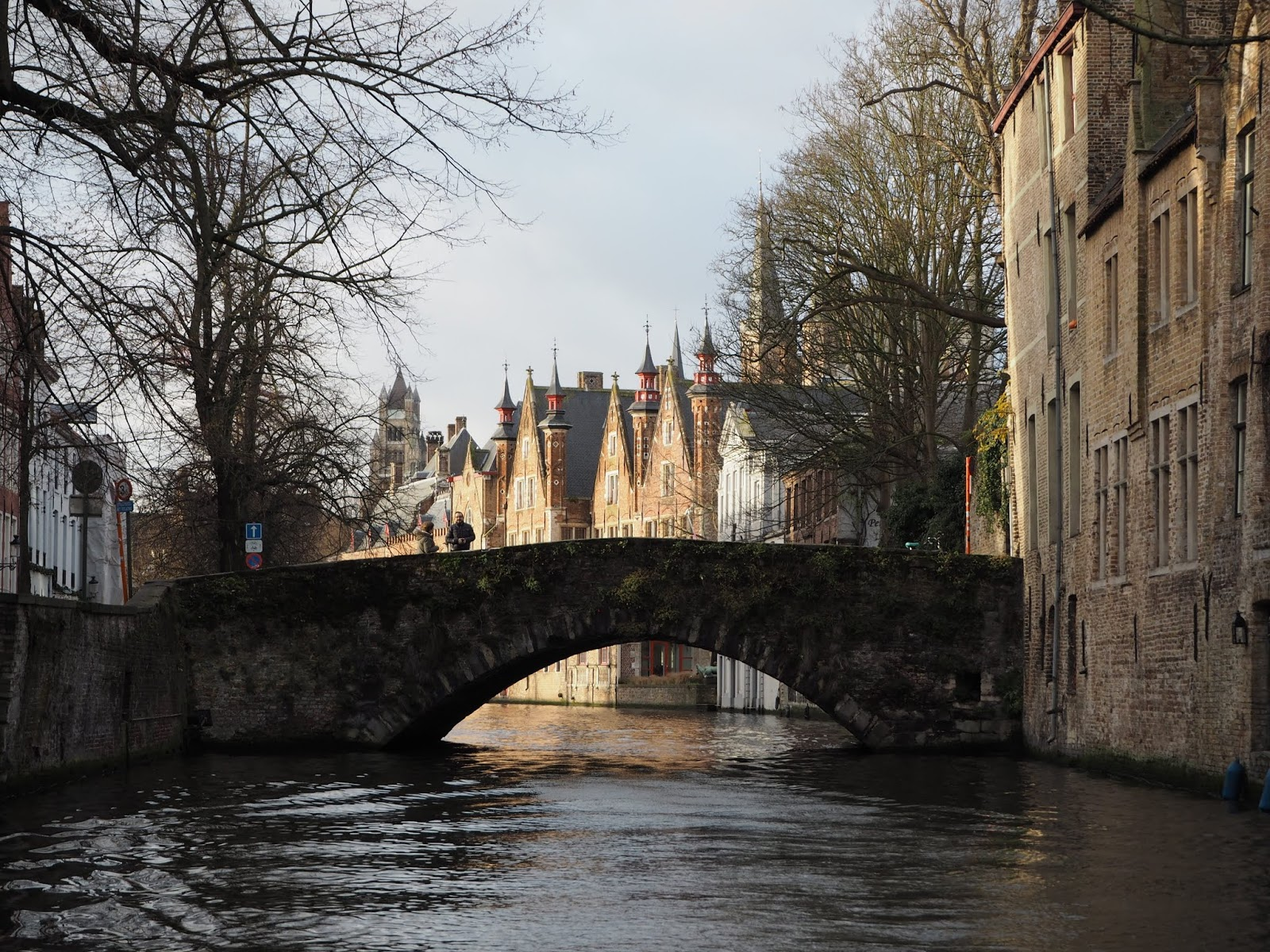 medieval bruges explored by boat on a canal tour in december