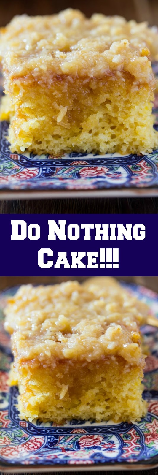Do Nothing Cake, aka Texas Tornado Cake! What is it?A pineapple dump/poke cake with coconut walnut frosting; super moist and pretty easy to make.