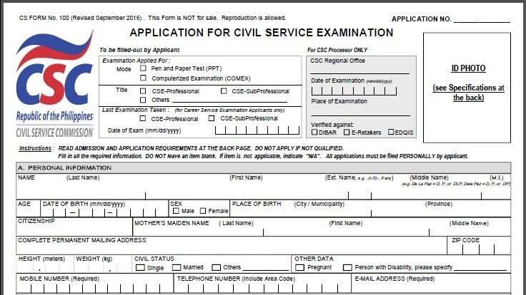 Civil Service Exam Ph Civil Service Application Form Cs Form No