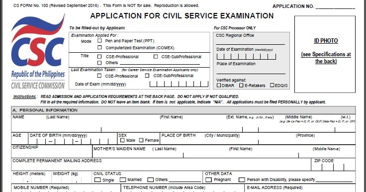 Civil Service Exam Ph: Cs Form No. 100 Revised September 2016