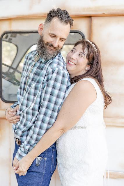 bride and groom portraits with a vintage metro van