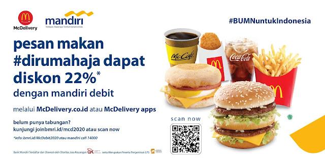 Promo McDonalds Mandiri Diskon 22% Transaksi Dengan Mandiri Debit Berlogo Visa!