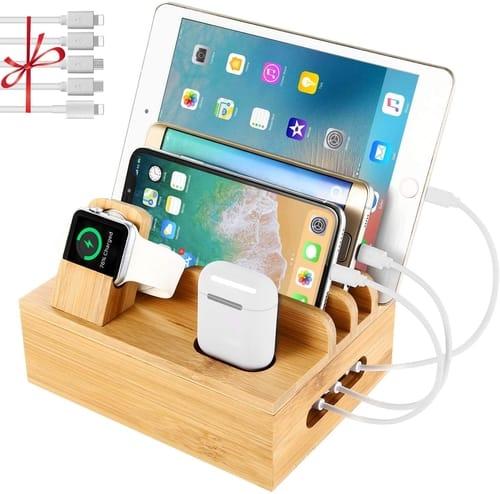 NEXGADGET 6 Ports USB Bamboo Charging Station Dock