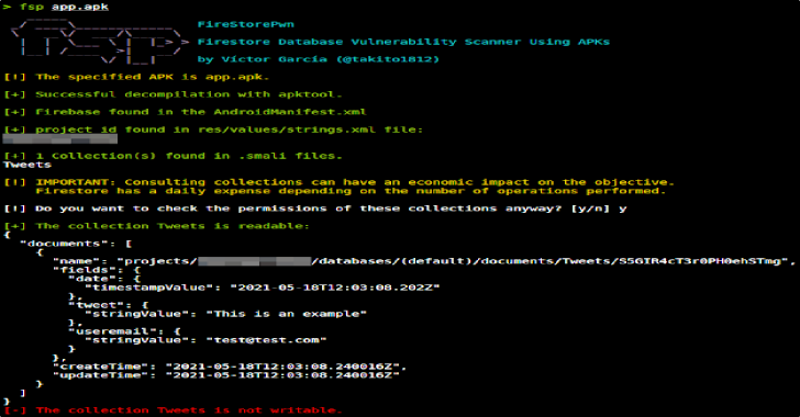 FireStorePwn : Firestore Database Vulnerability Scanner Using APKs