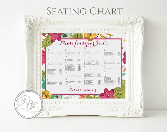 tropical watercolour seating chart plan pink hibiscus-island wedding-by rbh designer concepts