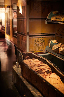 Nesyamun in his coffin in the Leeds Museum in England.