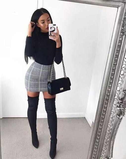 falda de cuadros outfit