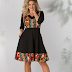 Rochie neagra eleganta pana la genunchi Cu motive florale de zi si de ocazii
