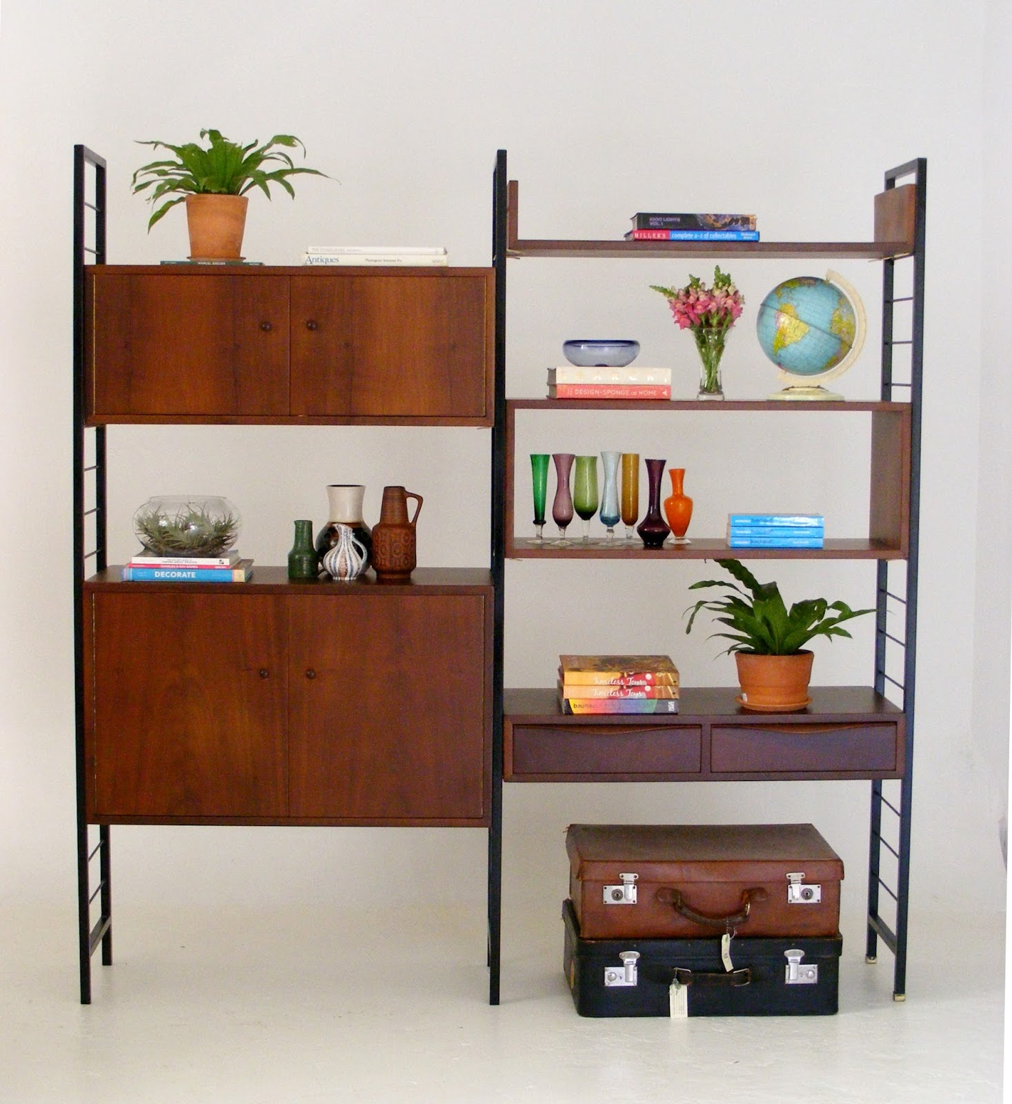 A Beautifully Crafted Adjustable Mid Century Wall Unit With Metal Sides And  Solid Imbuia Wood Shelves And Cabinets. Designed By EE Meyer For Binnehuis  (SA)