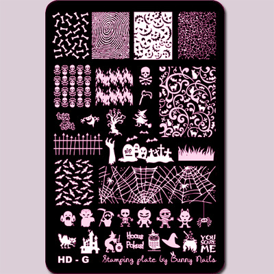 Lacquer Lockdown - Halloween, halloween nail art, halloween nail art stamping plates, nail art, nail art stamping ideas, holiday nail art, Bunny Nails, HD-G, medium sized stamping plates, stamping plates