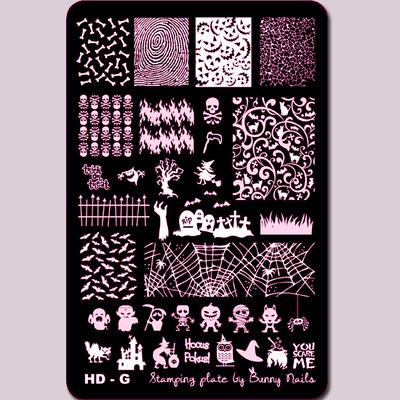 Lacquer Lockdown - Halloween, halloween nail art, halloween nail art stamping plates, nail art, nail art stamping ideas, holiday nail art, Bunny Nails, HD-G, medium sized stamping plates, stamping plates