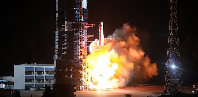 Long March 4C launches with Queqiao and two DSLWP-A satellites on May 20. 2018. Photo Credit: Xinhua/Liu Xu