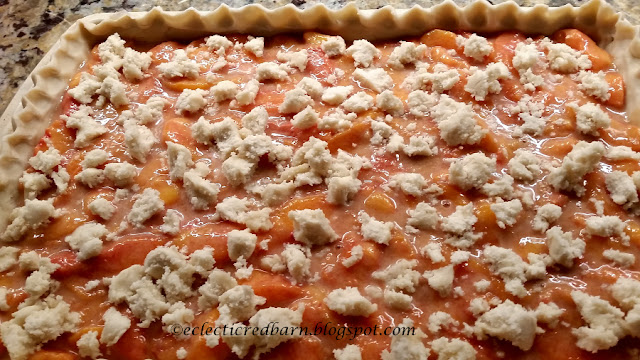 Eclectic Red Barn: Slab pie with crumbled sugar cookie dough ready to bake