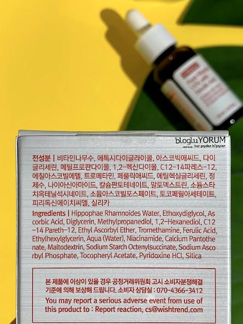 by wishtrend pure vitamin c 15 with Ferulic acid aydınlatıcı cilt bakım serumu  içerik
