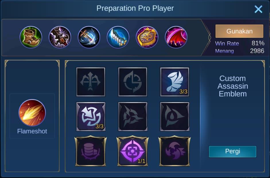 build item zilong mobile legends (ML)