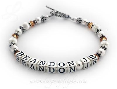 Brandon Jr Birthstone Bracelet with November or Topaz Swarovski Crystals