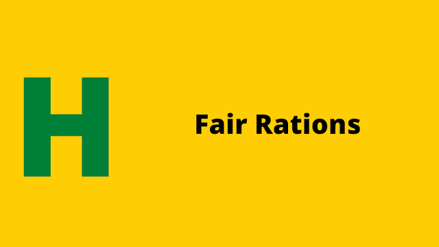 HackerRank Fair Rations problem solution