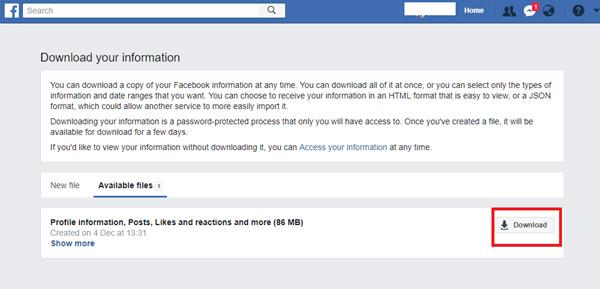 تنزيل معلوماتك من Facebook