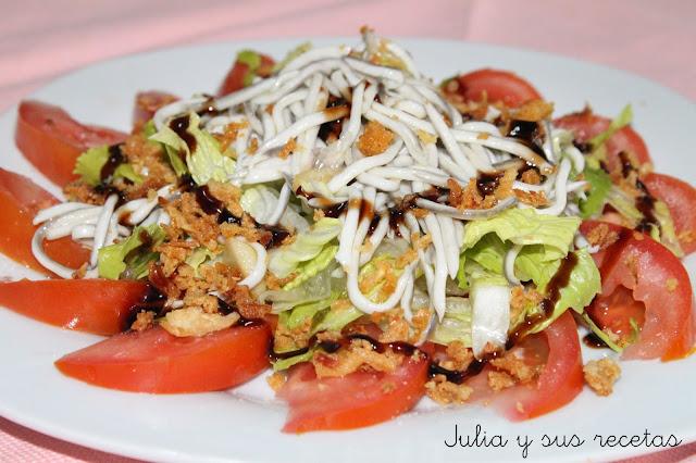 Ensalada templada de gulas. Julia y sus recetas