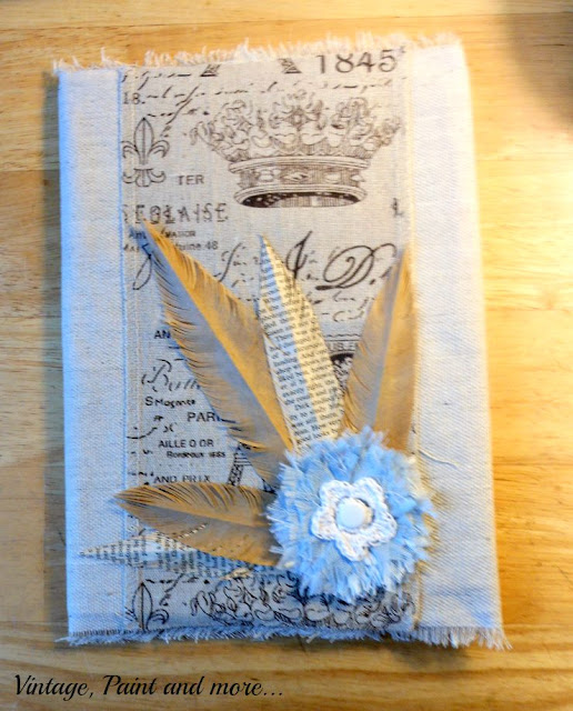 Vintage, Paint and more - finished drop cloth fabric notebook with paper feathers and fabric flower