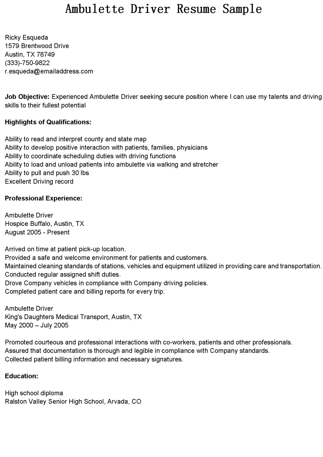 Cdl Driver Resume Sample Driver Resumes Ambulette Driver Resume Sample