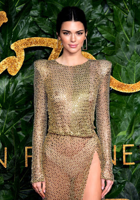 Kendall Jenner Goes Braless In Sexy See-Through Dress At British Fashion Awards.