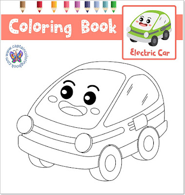 Dot to Dot Coloring Electric Car