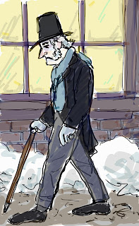 Scrooge walking alone, not knowing he is soon to go from villainy to redemption. Drawing by David Borden