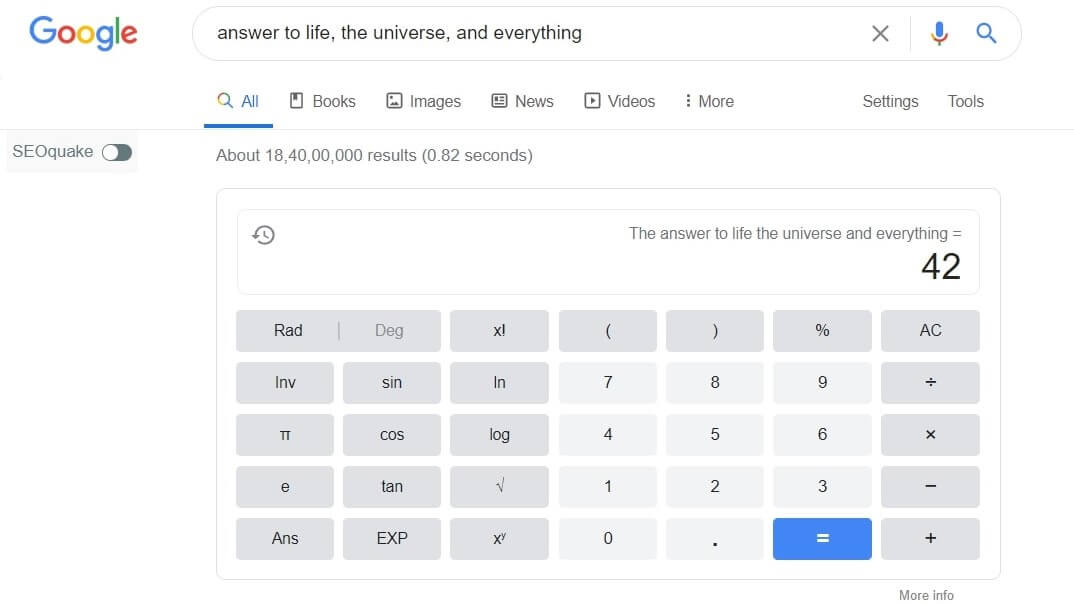 """<img src=""""google calculator.jpg"""" alt=""""answer to life, the universe, and everything"""" title=""""answer to life, the universe, and everything google tricks"""">"""