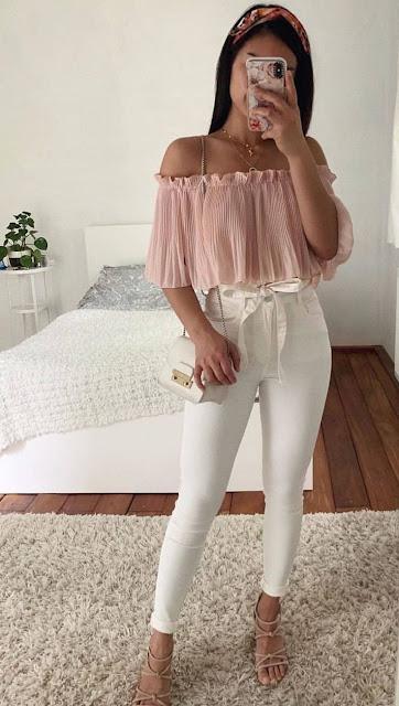 como combinar un jeans blanco
