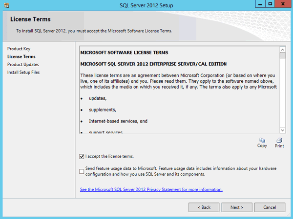 accept SQL Server 2012 license terms