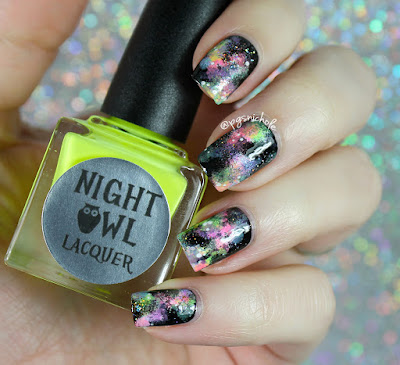 Night Owl Lacquer Neon Galaxy Nail Art