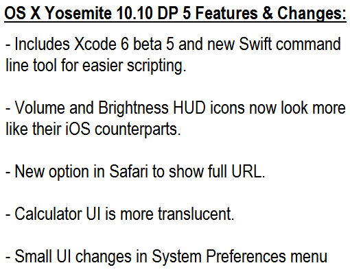 Mac OS X 10.10 Yosemite DP 5 (14A314h) Features and Changes