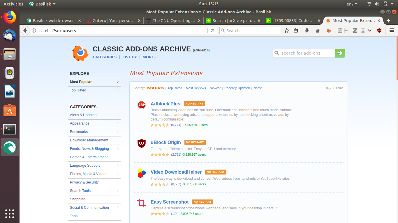 Basilisk Browser: To Run DownThemAll!, Zotero, Legacy Addons