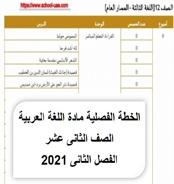 الخطة الفصلية مادة اللغة العربية الصف الثانى عشر الفصل الثانى 2021