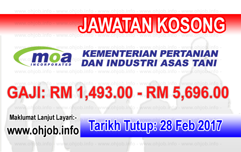 Jawatan Kerja Kosong MOA - Kementerian Pertanian dan Industri Asas Tani logo www.ohjob.info februari 2017